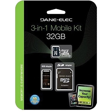 Dane-Elec DA-3IN1C1032G-R MicroSD High Capacity Flash Memory Card With Adapter, 32GB