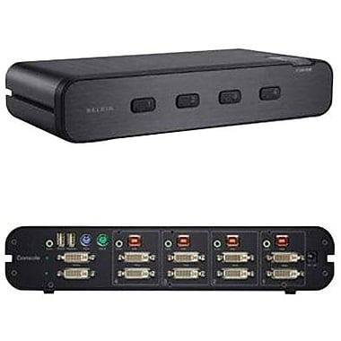 Belkin® F1DN104E Dual Head DVI-I KVM Switch, 4 Ports