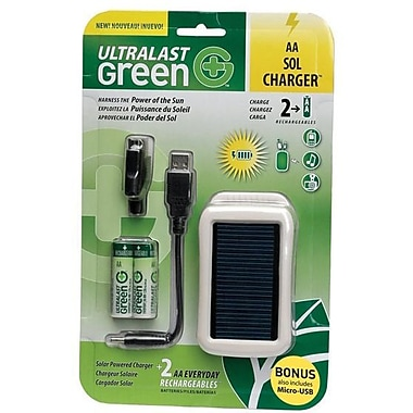 Ultralast Green® ULGSOLAR Solar Powered Charger, 5 VDC