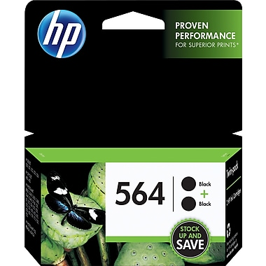 HP 564 Black Original Ink Cartridges, 2/Pack (C2P51FN)