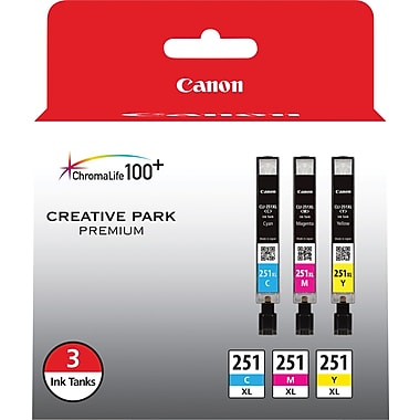 Canon CLI-251XL C/M/Y Color Ink Cartridges (6449B009), High Yield, Combo 3/Pack