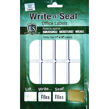 "Label Shield - Write n' Seal™ Self-Laminating Office Supply Labels, 1"" x 3"", 25/Pack"