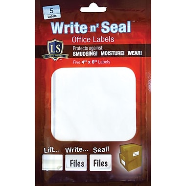 "Label Shield - Write n' Seal™ Self-Laminating Office Supply Labels, 4"" x 6"", 25/Pack"