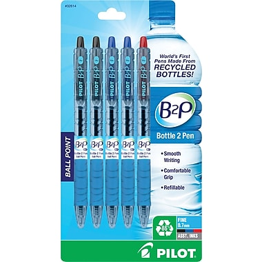 Pilot B2P Bottle to Pen Retractable Ballpoint Pens, Fine Point, Assorted Colors, 5/Pack