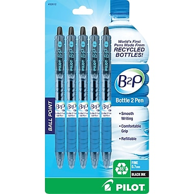 Pilot B2P Bottle-2-Pen Retractable Ball Point Pens, Fine Point, Black, 5/Pack (32612)