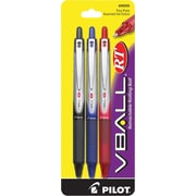 Pilot V-Ball Retractable Rolling Ball Pens, Fine Point, Assorted Colors, 3/Pack