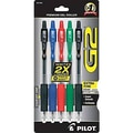 Pilot G2 Retractable Pens, Extra Fine Point, Asst Colors, 5/Pack