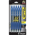 Pilot G2 Gel Retractable Pens, Fine Point, Blue, 5/Pack