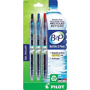 Pilot B2P Bottle-2-Pen Retractable Gel Roller Pens, Fine Point, Assorted, 3/Pack (31608)