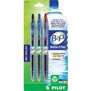 Pilot B2P Bottle to Pen Retractable Gel Pens, Fine Point, Assorted Colors, 3/Pack