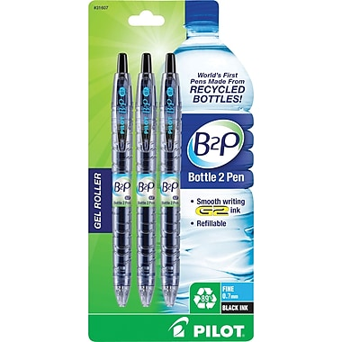 Pilot B2P Bottle to Pen Retractable Gel Pens, Fine Point, Blue, 3/Pack