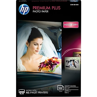 HP® Premium Plus Inkjet Photo Paper, Soft Gloss, 4