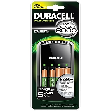 Duracell® Battery Charger Ion Speed 8000 with 2 AA and 2 AAA Rechargeable Batteries