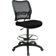 Office Star Space® Fabric Air Grid® Back Deluxe Drafting Chair, Black