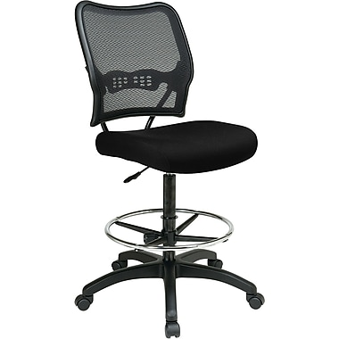 Office Star 13-7N20D-231 Space Seating Fabric Armless Drafting Chair, Black