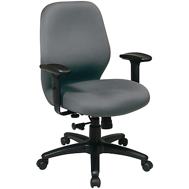 Office Star Fabric Manager Chair with Adjustable PU Padded Arm, Gray Fabric Seat