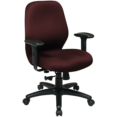 Office Star Fabric Manager Chair with Adjustable PU Padded Arm, Burgundy Fabric Seat