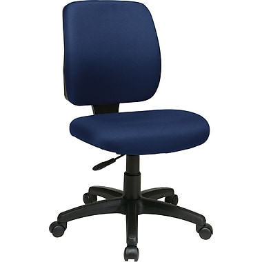 Office Star WorkSmart™ Polyester Deluxe Task Chair with Ratchet Back Height Adjustment, Navy