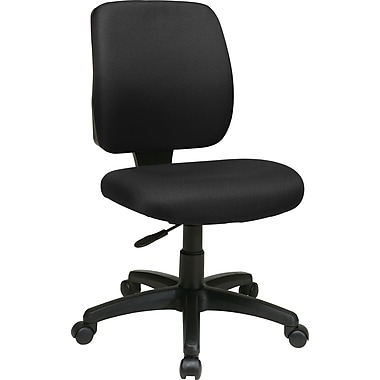 Office Star 33101-231 Work Smart Fabric Mid-Back Armless Task Chair, Black
