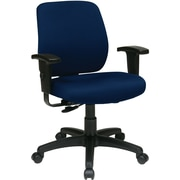 Office Star WorkSmart Fabric Computer and Desk Office Chair, Adjustable Arms, Navy (33107-225)