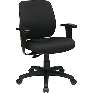 Office Star 33107-231 Work Smart Fabric Task Chair with Adjustable Arms, Black