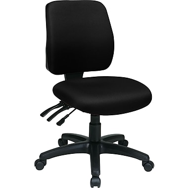 Office Star WorkSmart™ FreeFlex® Fabric Mid Back Ergonomic Task Chair without Arm, Black