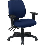 Office Star 33327-225 Work Smart Fabric Mid-Back Task Chair with Adjustable Arms, Navy
