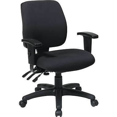 Office Star WorkSmart™  FreeFlex® Fabric Mid Back Ergonomic Task Chair with Arm, Black