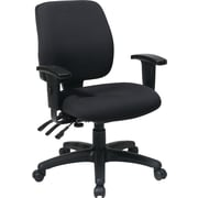 Office Star 33327-231 Work Smart Fabric Mid-Back Task Chair with Adjustable Arms, Black