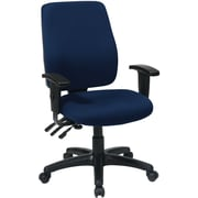 Office Star 33347-225 Work Smart Fabric High-Back Task Chair with Adjustable Arms, Navy
