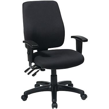 Office Star 33347-231 Work Smart Fabric High-Back Task Chair with Adjustable Arms, Black