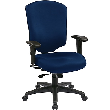 Office Star 41572-225 Work Smart Fabric High-Back Executive Chair with Adjustable Arms, Navy