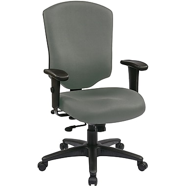 Office Star 41572-226 Work Smart Fabric High-Back Executive Chair with Adjustable Arms, Gray