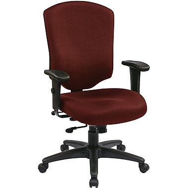 Office Star 41572-227 Work Smart Fabric High-Back Executive Chair with Adjustable Arms, Burgundy