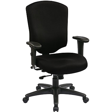 Office Star WorkSmart™ Fabric Executive Chair with Ratchet High Back and Adjustable Arm, Black