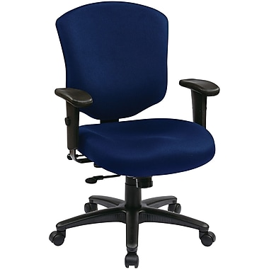 Office Star WorkSmart™ Fabric Executive Chair with Ratchet Mid Back and Adjustable Arm, Navy
