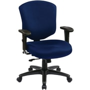 Office Star 41573-225 Work Smart Fabric Mid-Back Executive Chair with Adjustable Arms, Navy
