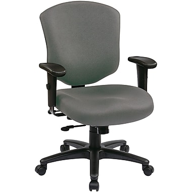Office Star WorkSmart™ Fabric Executive Chair with Ratchet Mid Back and Adjustable Arm, Gray