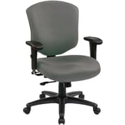 Office Star WorkSmart Mid-Back Fabric Executive Chair, Adjustable Arms, Gray