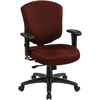 Office Star 41573-227 Work Smart Fabric Mid-Back Executive Chair with Adjustable Arms, Burgundy