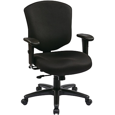 Office Star 41573-231 Work Smart Fabric Mid-Back Executive Chair with Adjustable Arms, Black