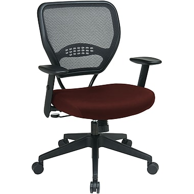 Office Star Space Seating Mid-Back Fabric Manager's Chair, Adjustable Arms, Red
