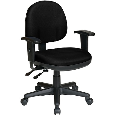 Office Star WorkSmart™ Polyester Ergonomic Managers Chair with Adjustable Arm, Black