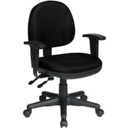 Office Star WorkSmart Mid-Back Fabric Manager's Chair, Adjustable Arms, Black