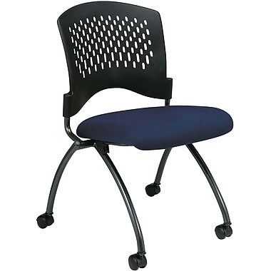 Office Star Proline II® Fabric Deluxe Armless Folding Chair with Plastic Back, Navy, 2/Pack