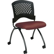 Office Star Proline II® Fabric Deluxe Armless Folding Chair with Plastic Back, Burgundy, 2/Pack