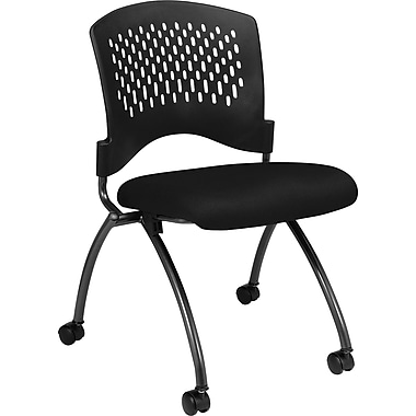 Office Star Proline II® Fabric Deluxe Armless Folding Chair with Plastic Back, Black, 2/Pack