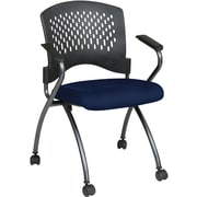 Office Star Proline II® Fabric Deluxe Folding Chair with Ventilated Plastic Back, Navy