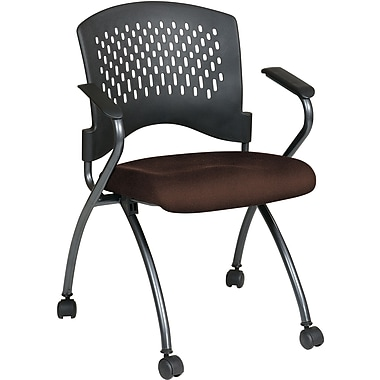Office Star Proline II® Fabric Deluxe Folding Chair with Ventilated Plastic Back, Burgundy