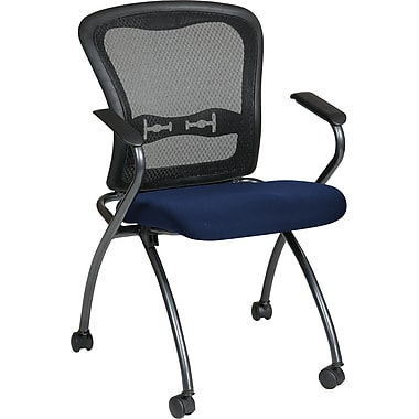 Office Star Proline II® Fabric Deluxe Folding Visitors Chairs with Arms and ProGrid® Back